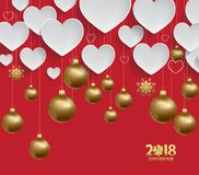 Vector illustration of christmas 2018 heart background with christmas balls gold Royalty Free Stock Photos