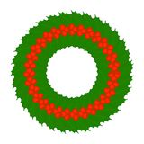 Christmas Holly Berry Wreath Isolated. Vector illustration of Christmas Holly Berry Wreath isolated on white background, in flat style Royalty Free Stock Photos