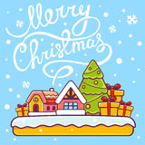 Vector illustration of christmas house with hand written text on Stock Photos