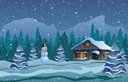 Vector illustration. Christmas. The house in snow, trees and snowman. Christmas. The house in snow, trees and snowman Royalty Free Stock Images