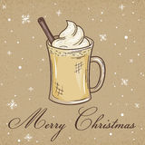 Vector illustration of christmas kraft paper card with eggnog, label and snowflakes. Can be used for greeting card, invitation, ba Royalty Free Stock Images