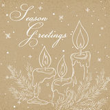 Vector illustration of christmas kraft paper card with outline of candles, branch of christmas tree, label and snowflakes. Can be Stock Photo