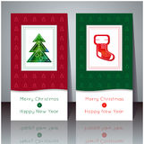 Vector illustration. Christmas and New Year greeting card. Winter cards with Christmas tree and Christmas sock. Holiday design. Pa. Rty poster, greeting card stock illustration