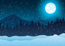 Vector illustration. Christmas. Night winter landscape. Trees against a blue background of falling snow and moon. Royalty Free Stock Images