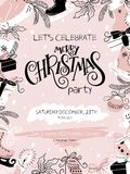 Vector illustration of christmas party poster with hand lettering label - christmas, and hand drawn elements - fir-tree. Holly leaves, christmas bauble Stock Images