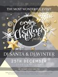 Vector illustration of christmas party poster with hand lettering label - christmas - with stars, sparkles, snowflakes. Vector illustration of christmas party Stock Photography