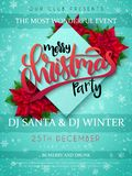 Vector illustration of christmas party poster with hand lettering label - christmas - with poinsettia flowers and Stock Image
