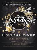 Vector illustration of christmas party poster with hand lettering label - christmas - with stars, sparkles, snowflakes. Vector illustration of christmas party Royalty Free Stock Photo
