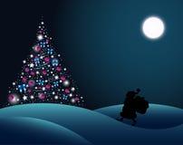 Santa Claus and Christmas tree. Vector illustration. Christmas postcard. Happy New Year Royalty Free Stock Photo