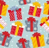 Vector Illustration Christmas presents seamless pattern Stock Images