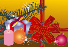 Vector illustration christmas red ribbon(backg royalty free stock images