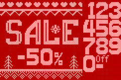 Vector Illustration of Christmas sale discount Knitted Style for Design, Website, Background, Banner.  Royalty Free Stock Photo