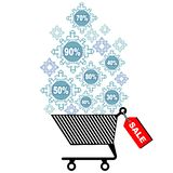 Vector illustration for Christmas sale. Discount sticker or banner design. Shopping trolley with snowflakes in it. Christmas shopping background royalty free illustration
