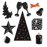 Vector illustration christmas sets with a white stroke in Orange and black colours isolated on white background for advertising stock illustration