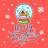 Vector illustration of christmas snow globe and hand written tex. T on red background with snowflakes. Hand draw line art design for web, site, advertising Stock Photo