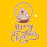 Vector illustration of christmas snow globe and hand written tex. T on yellow background with snowflakes. Hand draw line art design for web, site, advertising Royalty Free Stock Image