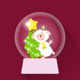 Vector illustration of Christmas Snow globe. With sheep Royalty Free Stock Images
