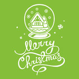 Vector illustration of christmas snow globe and white hand  Stock Photo