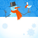 Vector illustration of Christmas Snowman with red scarf. Stock Photos