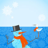 Vector illustration of Christmas Snowman with red scarf. Royalty Free Stock Image
