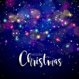 Vector illustration on a christmas theme with glowing lights and typography.  Royalty Free Stock Photo