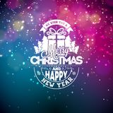 Vector illustration on a christmas theme with glowing lights and typography. Creative Holiday design for greeting card. Stock Images