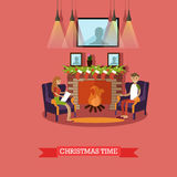 Vector illustration of Christmas time design element in flat style. Vector illustration of young man and woman sitting in armchairs near fireplace decorated with Stock Image