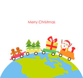 Vector illustration of a christmas train Royalty Free Stock Image