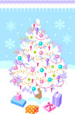 Vector illustration with christmas tree Stock Image