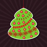 Vector illustration of Christmas tree as sticker Royalty Free Stock Photos