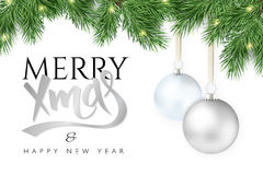 Vector illustration Christmas-tree branch with hanging christmas ornaments and garland and the greetings text  Stock Photo