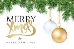 Vector illustration Christmas-tree branch with hanging christmas ornaments and garland and the greetings text - Merry Royalty Free Stock Photography