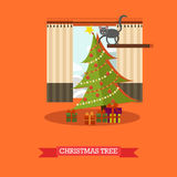 Vector illustration of christmas tree and gifts in flat style. Vector illustration of christmas tree decorated with baubles, lights. Gifts under the tree. Cat Stock Photo