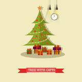 Vector illustration of christmas tree with gifts in flat style. Vector illustration of christmas tree decorated with baubles and lights. Gifts under the tree Stock Photography