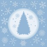 Vector illustration of Christmas tree silhouette with snowflakes. On a colored background in gentle tones Stock Image