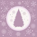 Vector illustration of Christmas tree silhouette with snowflakes. On a colored background in gentle tones Stock Photos