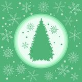 Vector illustration of Christmas tree silhouette with snowflakes. On a colored background in gentle tones Royalty Free Stock Photography