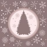 Vector illustration of Christmas tree silhouette with snowflakes. On a colored background in gentle tones Royalty Free Stock Image