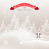 Vector illustration of Christmas tree in the snow and snowflakes. Santa Claus with staff Christmas holiday card Royalty Free Stock Photos