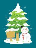 Vector Illustration of Christmas Tree with Snowman and Wooden Board. Christmas Tree with Snowman and Wooden Board Royalty Free Stock Photo