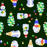 Vector illustration of christmas tree toys on dark background seamless pattern vector illustration