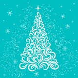 Christmas tree in white and blue colors. New Year card. Congratulation. Celebration. Winter. Snowflakes. Stars. Christmas tree vector illustration