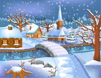 Christmas villages covered by snow. Vector illustration of christmas village covered by snow in winter season Stock Photo
