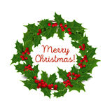 Vector illustration. Christmas wreath of holly Stock Photo