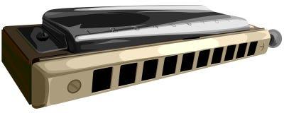 Vector illustration of chromatic harmonica. Stock Image