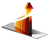 Vector illustration of chrome fire graph. Royalty Free Stock Images