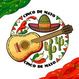 Vector illustration of Cinco de Mayo Day. Cartoon Sombrero, guitar, pepper and cactus. 5 May greeting card. Mexican Elements in flat style. Mexican icons Stock Images