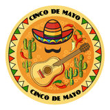 Vector illustration of Cinco ge Mayo Day. Cartoon  Sombrero, guitar, pepper, cactus and moustache.  5 May round greeting card Royalty Free Stock Image