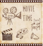 Vector illustration cinema icon. Set with director chair cinema flap retro movie projector Stock Photography
