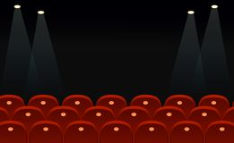 Vector illustration of cinema seats in front of black screen with place for text and lights space in flat style. Vector illustration of cinema seats in front of royalty free illustration